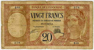 New Caledonia 1929 Issue 20 Francs Note.