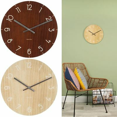 Karlsson Wall Clock Glass Dark or Pale Wood Print 40cm Home or Office Wall Clock