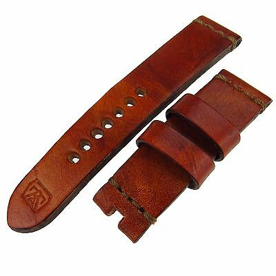 Geniune Aged Calf Leather Brown Oiled Mansarea Watch Strap 24/22Mm