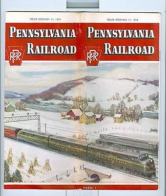 12/14/1949 Pennsylvania Railroad Timetable great cover