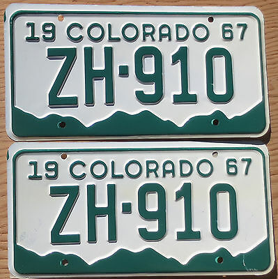 1967 Colorado License Plate Number Tag PAIR Plates