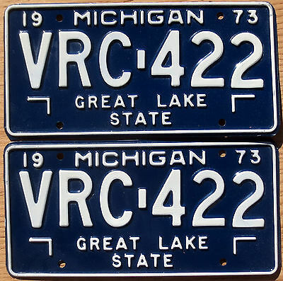 1973 Michigan License Plate Number Tag PAIR Plates