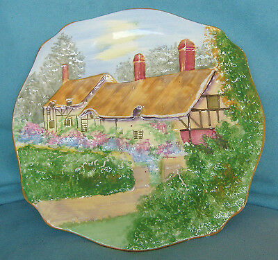 """ROYAL WINTON EMBOSSED DISPLAY PLATE """"ANN HATHAWAY'S COTTAGE"""" c.1930s, ART DECO"""