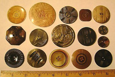 Lot of 16 Vintage MIXED Celluloid Catlin Casein Buttons - OLD - Used - #C