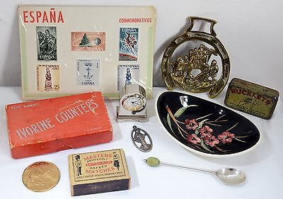 Job Lot of Vintage Items Inc. Sterling Silver Spoon, Stamps, Clock, Horse Brass