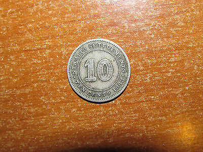 Straits Settlements 1888 silver 10 Cents coin Fine nice