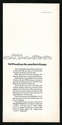 1968 VW Volkswagen Beetle bus microbus Karmann Ghia car Europe vintage print ad