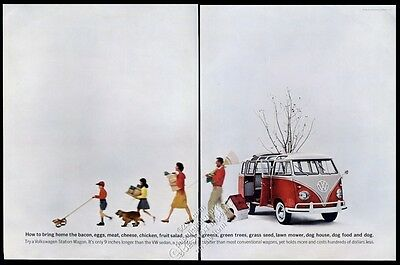 1961 VW Volkswagen bus microbus and family color photo vintage print ad