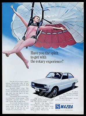 1970 Mazda R100 coupe car parachute skydiving woman photo vintage print ad