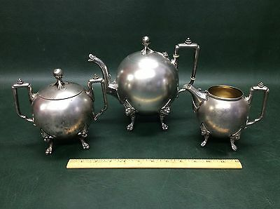 Wm. I Gale & Co. Silverplate Teapot Cream and Sugar Dish Lions Heads ~As found