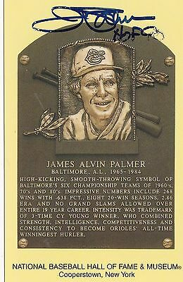 Baseball Hall Of Fame Yellow Postcard Jim Palmer Autograph Nrmt/mt