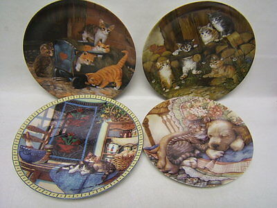 "Lot of 4 Cat Collector Plates ""Cuddle Up"" Lazy Morning,2 ""Die Spielkameraden"""