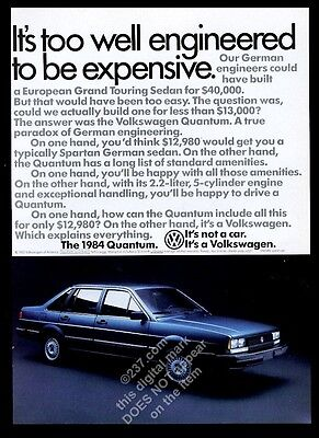 1984 VW Volkswagen Quantum blue car photo vintage print ad