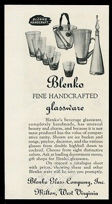 1950 Blenko Glass ice bucket pitcher decanter highball photo vintage print ad