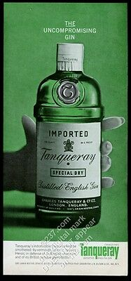 1965 Tanqueray Gin green bottle photo The Uncompromising Gin vintage print ad