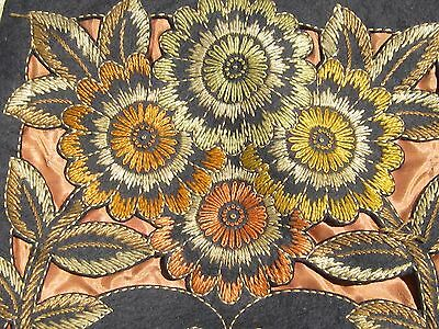 Art Nouveau / Arts And Crafts Floral Embroidered Needlepoint Felt & Satin Pillow