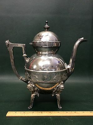 Antique Rare Bailey & Brainard Large Ornate Silverplate Footed Teapot ~figural