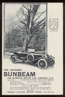 1922 Sunbeam touring car photo UK vintage print ad