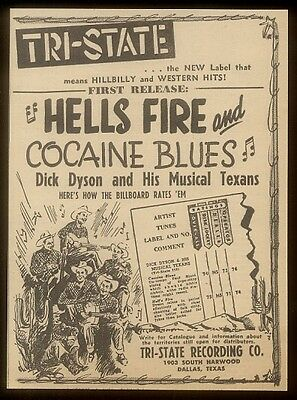 1948 Dick Dyson His Musical Texans Hells Fire Cocaine Blues trade print ad