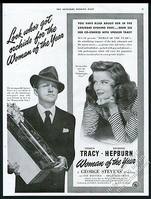 1942 Spencer Tracy Katharine Hepburn photo Woman of the Year movie release ad