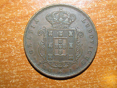 Portugal 1871 20 Reis coin Very Fine nice KEY DATE