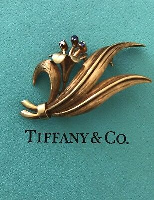 TIFFANY & CO Blue SAPPHIRE 18K YELLOW GOLD FLOWER PIN BROOCH