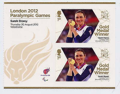 London 2012 Paralympic Gold Medal Winners Sarah Storey Track Sheetlet Mnh