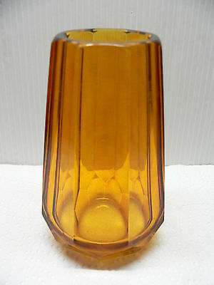 TAPERED 16 FACET CUT AMBER GLASS VASE - CLEAR BASE - VINTAGE 30's CZECH GLASS ??