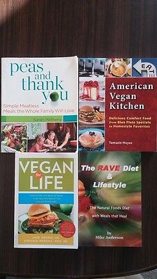 4 Vegan Cookbooks Peas and Thank You, For Life, RAVE Diet, American Kitchen