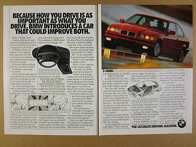 1992 BMW 3-Series 325is Coupe red car photo vintage print Ad