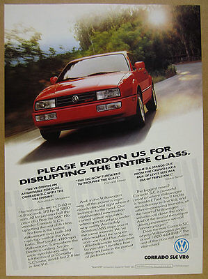 1992 VW Volkswagen Corrado SLC VR6 red car photo vintage print Ad