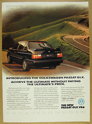 1992 Volkswagen VW Passat GLX black car photo vintage print Ad