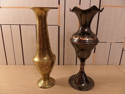 "Two Very Different Brass ?? Spill Vases, 6.5"" High, Dark One Not Magnetic ???"