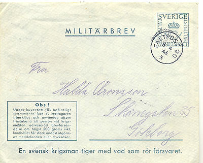 Sweden 1943 Fieldpost postal stationery cover