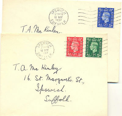 GB two plain first day covers of 1937 definitives