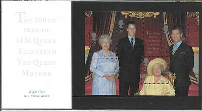 2000 HM QE The Queen Mother MS Presentation Pack No M04