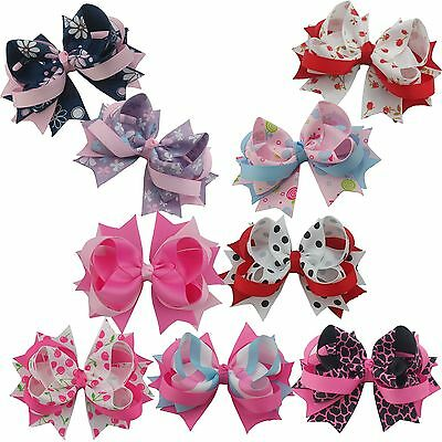 Lot 4inch 9PCS Girls boutique barrettes Ribbon Hair Clip Bows Solid mix 37styles