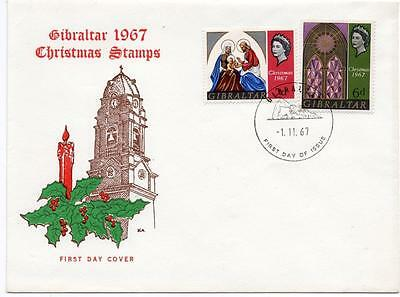 Gibraltar 1967 Christmas Illustrated Fdc. Fine Condition