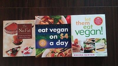 3 Vegan Books Eat on $4 a Day, Let Them Eat Vegan, The (almost) No Fat Cookbook