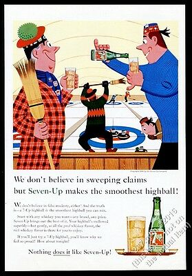 1960 curling match stone broom sports cartoon 7up 7-Up soda vintage print ad