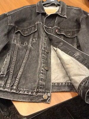 Mens Vintage Black Denim Levi Jacket Size XL