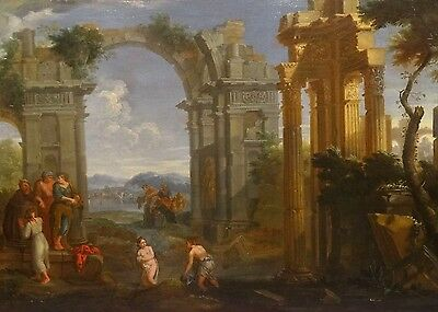 Large 18th Century Italian Classical Architectural Landscape Nude Oil Painting