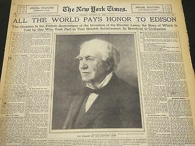 1929 Oct 20 New York Times - All The World Pays Honor To Edison - Nt 5310