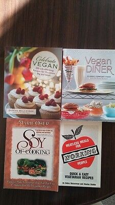 4 Vegan Books Diner, Celebrate, Soy Cooking, Meatless Meals for Working People