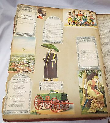 Antique 1876 VICTORIAN SCRAPBOOK Articles 14 Trade Cards 9 Die Cuts Flowers