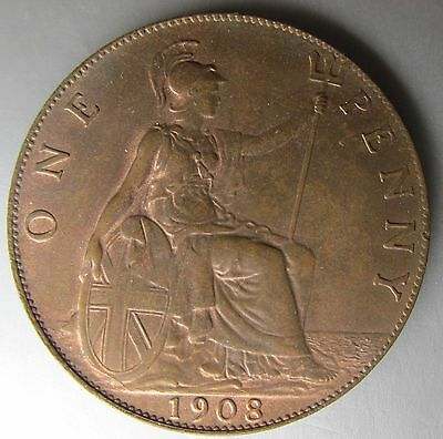 Great Britain, 1908 Copper Penny 1d, Choice!