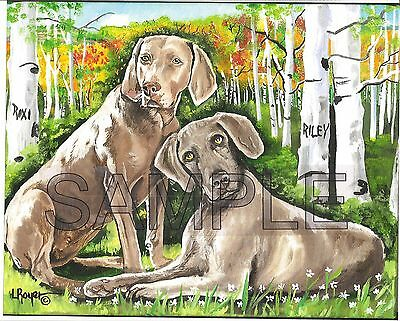 Weimaraner Art Print #483 By Artist L Royer 8X10 Numbered Signed Certificate
