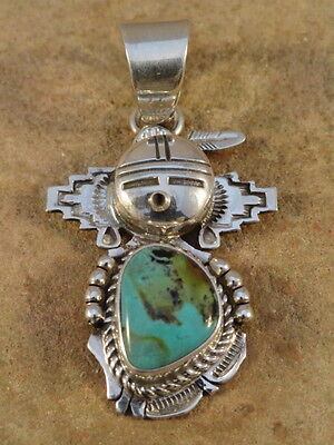Bennie Ration Navajo Sterling Silver & Turquoise Kachina Pendant
