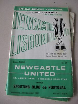 1968-69 Newcastle United v Sporting Lisbon Fairs cup 2nd round 2nd leg 20.11.68