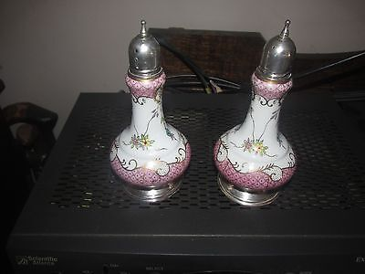 sterling silver and porcelain salt and pepper-messin german